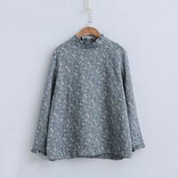 Johnature Vintage T-Shirt Yeni Rahat Pamuk Uzun Kollu Kadın Baskı Çiçek Bahar O-Boyun Gevşek Kadın Bezler Çin Tarzı 210317