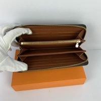 Moda PU cuero solo cremallera diseñadores billeteras de alta calidad de lujo monedero monedero titular de la tarjeta de embrague largo cartera con caja