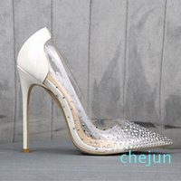 Women shoes Bridal Wedding Shoes Luxury Red Bottom High Heels Clear Crystal Rhinestone Dress Shoes Size 35 To 40 41