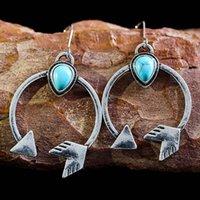 Dangle & Chandelier Fashion Boho Women Earring Metal Hoop Arrow Cupid Love Crochet Earrings Green Stone Jewelry 2021 Wholesale D447