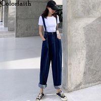 Women's Jeans Colorfaith 2021 Women Summer High Waist Casual Trousers Denim Overalls Streetwear Wide Leg Ankle-Length Pants J3787