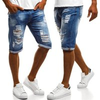 Blue Mens Jean Shorts Summer Half Longueur déchirée Skinny Slim Fit Street Adolescent Denim Short
