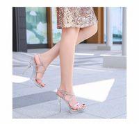 2020 Sandali in gomma di vetro macchiato caldo Donne tacchi alti 12 cm Sandali femminili Sandali Nightclub Piattaforma Acciaio Tubo Shoes Model Show Model Show Shoes Ladies 32AV #