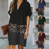 Casual Dresses Women's Fashion Print Short Sleeve Leopard Patchwork Mini Dress Sexy V-Neck Ladies Summer Sundress Vestidos Robe
