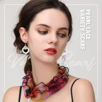 Scarves Fashion Pearl Lace Variety Scarf Pendant Necklace Lady's Neck Hair Silk Jewelry Accessory Girl Head Kerchief Scarfs