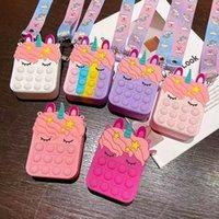 Rainbow Cute Unicorn Silica Gel Children Crossbody Coin Purse Portable Card Bag Push Bubble Anti Stress Reliver Fidget Toys Kids Gift