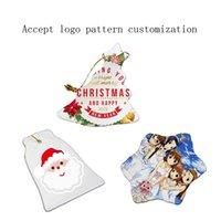 Pendant Badge Sublimation Blank Ceramic Pendant Creative Christmas Ornaments Heat Transfer Printing DIY Ceramic Ornament