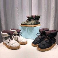 2021 nuevas mujeres almohadas planas botas de plataforma botines de alta calidad Impresión de invierno Falts Eiderdown Lace-up Snow Boot con caja 265