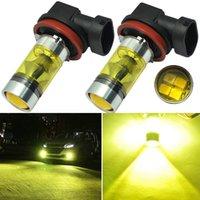 2 قطعة / المجموعة h11 h8 100 واط عالية الطاقة أضواء السيارة 2835 الصمام الضباب الأصفر القيادة ضوء المصابيح سيارة مصابيح دروبشيبينغ