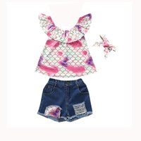 whloesale children outfit mermaid summer denim short boutique girls clothing set