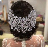 Wedding Bridal Rhinestone Flower Headband Crown Tiara Floral Hairband Silver Pageant Princess Queen Headpiece Hair Accessories Prom Luxury Bling Headdress