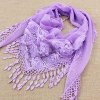 Шарфы 1 шт. Треугольник подвеска шарф женские тазонные шали и осенний шелковый цветок кружева мода женский