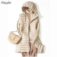 Fitaylor Winter Ultra Light White Duck Down Pailth Женщины 4XL PLUS Размер нижней куртки Среднего длинного жилета Женский повседневная молния Верхняя одежда 210901