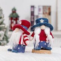 American Independence Day Boneca Dwarf Feleless Boneca Vermelho e Azul Curto Hat Boneca Decorações de Janela Home DWA3827