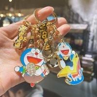 2021 Mode Keychain Véritable Doraemon Metal Voiture Chaîne Creative Dessin animé Jingle Jingle Cat Taille Suspendu Simple Sac Pendentif