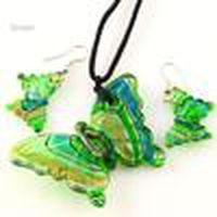Butterfly Foil Murano Lampwork Blown Venetian Verre Colliers Pendentifs et boucles d'oreilles Ensembles de bijoux Mus002 Bijoux de mode bon marché