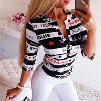 Письмо кнопки Печать блузки Топы Женщина Лето V Шея С Длинным Рукавом Мода Новые Топы Блузка Плюс Размер Женская Одежда
