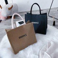 Fashion Large Capacity Tote Bag Cotton Linen Handbag Simple Casual Letter Printing Female Shopping Shoulder Bags