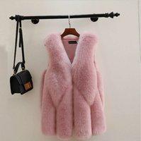 Elegante faux fox pelliccia gilet rosa giacca cappotto gilet gilet gilet outwear moda casual moda senza maniche in pelliccia da donna inverno abbigliamento