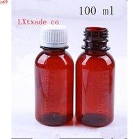 100 ml Kahverengi Plastik Sıvı Boş Şişe Tıp Konteyner Conta Şurubu Esansiyel Yağ Kavanozları 50 PCShigh Qty