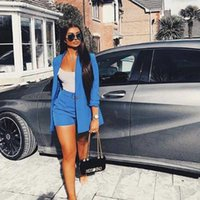 Women's Tracksuits Summer Work OL Two Piece Set Blazer Jacket And Shorts Sexy 2 Women Belt 3 4 Sleeve Femal Outfits
