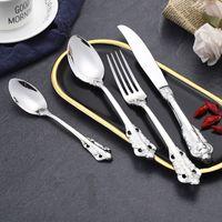 Estilo retro conjunto de talheres de aço inoxidável de aço inoxidável Faca de faca colher de garfo 5 peça de jantar conjunto para o conjunto de utensílios de mesa GWB8174