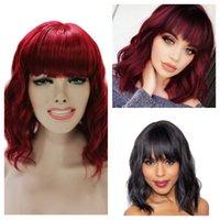 Women's Bob Curry Perruque courte ondulée épaule-longueur naturelle look naturel rouge foncé de charme fibre de fibre résistante à la chaleur