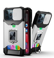 Shockproof Hybrid PC TPU Armor Car Holder Magnet Defender Phone Cases For iphone 13 pro 12 11 XR XSMax 13proMax With card Finger Ring Cover