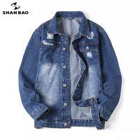 Мужские куртки Shan Bao 2021 осенний бренд свободный хлопок джинсовая куртка классический стиль Trend разорвал молодой мода плюс размер повседневная