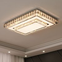 Luxury Rectangular Round K9 Crystal Ceiling Lights Simple Modern Dimmable Large Chandeliers Pendant Lamps For Living Room Foyer Restaurant Hotel Fixtures