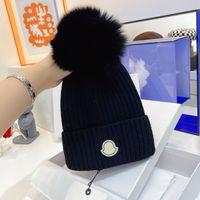 Diseñador Skull Caps Fashion Fax Poder Pom Beanie Transpirable Cálido Sombrero de cachemira para hombre Mujer 6 Colores Top Calidad