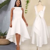 Casual Dresses White prom dress, princess, with her back open, big bow, midi, elegant, for parties, events PVPO