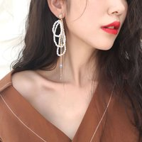 2021925 Dangle temperament fashion exaggerated geometric square diamond earrings net red simple female rectangular long section TPUDbeautifuls