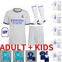 20 21 22 22 ريال مدريد لكرة القدم الفانيلة 2021 2022 خطر زيدان بنزيما قميص كرة القدم camiseta دي فوتبول الكبار للأطفال مجموعات