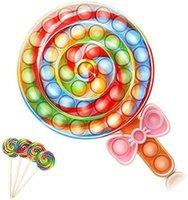 20cm Fidget Toys Rainbow Lollipop Push Bubble Bubble Fidgets Toy Sensory Anti-Ansiedad Silicone Squeeze Strel Relieve Regalos