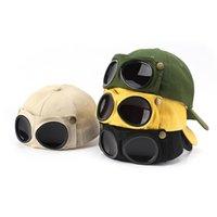 Aviator Şapka Yaz Kişilik Gözlük Beyzbol Şapkası Katı Unisex PU Deri Kapaklar Güneş Gözlüğü Basebalcap ile