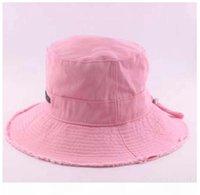Summer Women's Bucket Hats Raw Edges Canvas Drawstring Women Sun Hat Khaki pink