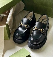 with box Luxury Women Lug Sole Horsebit Loafer Shoes Gold-toned Embroidery Bee Slip On Platfrom Sneakers Lady Leather White Black Comfort Walking