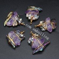 Raw Rainbow Titanium Crystal Stone Point Handcrafted Wire Wrapped Pendant Reiki Healing Natural Rough Purple Amethyst Quartz Gemstone Pearls Epoxy Resin Pendants
