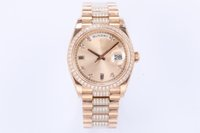 Mens Watches EW 3255 Automatic chain attaching movement 18CT gold dial set with diamond size 36mm*12mm quick setting instantaneous jump