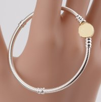 NEW 2021 100% 925 Sterling Silver Gold Classic Chain Fit DIY Original Fshion Jewelry Gift 11123