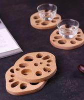 Modische robuste und kreative Buche Lotus Wurzelform Tasse Pad Teetasse Tokamak Wärmedämmung Pad Anti Brauting Tee Cup Pad FFD4914