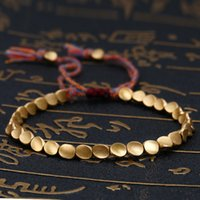 Handgjord tibetansk koppar pärla armband för kvinnor justerbara rep kedja män armband guld färg flätad boho vintage smycken gåva