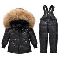 Baby infant boy designer clothes Kids Big Fox Fur Collar Snowsuit White Duck Down Children Skiing Suits Down Jacket+Jumpsuits Baby Girls Winter Coat Outwear