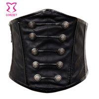 Retro Punk Black Faux Corset Corsetto Corsetto Gothic Militare Ampia vita Steampunk Zipper per le donne Cinturon Mujer X0123