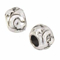 Jewelry Components 9mm Alloy Beads Bangles European Charms Bead Bracelets DIY Circle Moon Star Big Hole Slider Vintage Silver Metal 200pcs