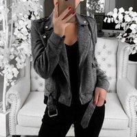Women's Jackets Fashion Leather Jacket Women Oversize Long Sleeve Open Front Short Cardigan Suit Coat Top Veste Femme #G3