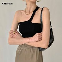 Women's Tanks & Camis Karrram Chic Design Diagonal Shoulder Strap Women Sexy Knit Halter Top Korean Ladies Summer Slim Crop Camisole Tank