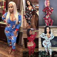 2021 Casual Cartoons Print Long Sleeve Deep V Neck Skinny Christmas Jumpsuit Women Night Party Outfit Rompers Warm Pajamas Women's Jumpsuits cy8099