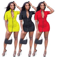 Women mini casual dresses summer fall clothing sexy club solid color stand collar wear zipper short sleeve shealth column evening party dress elegant